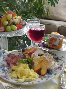 Home-cooked hot breakfasts always served at Birds of a Feather Victoria Oceanfront Bed and Breakfast