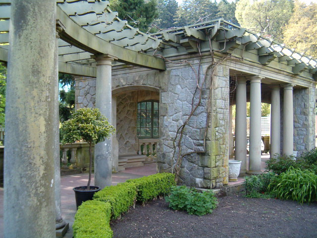 Stone wall surrounding the Italian Gardens at hatley Park