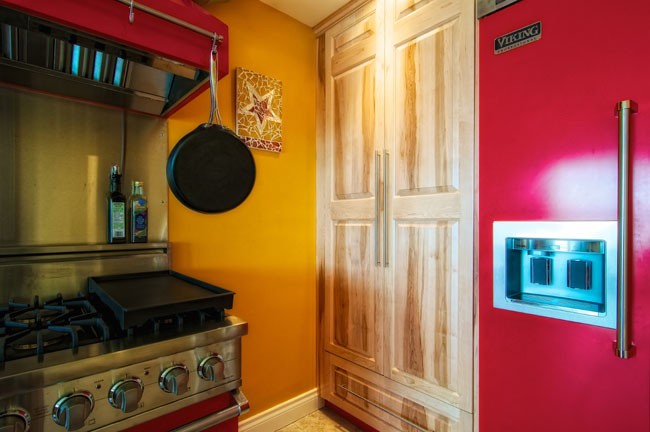 kitchen pantry, stove and Viking Professional Refrigerator