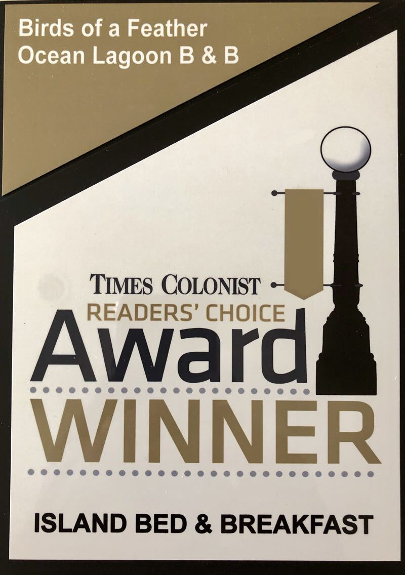 Times Colonist Readers Choice Award Best B&B Vancouver Island