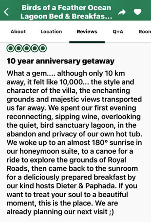 TripAdvisor 5 star review of Victoria Bed and Breakfast