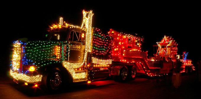 Lighted Truck parade Victoria, BC - Slegg Lumber truck